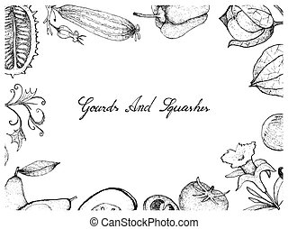 Hand Drawn of Gourd and Squash Fruits Frame - Vegetable and...