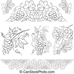 Hand drawn of pencil, grapes set. Vector illustration.