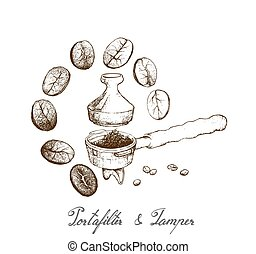 Coffee Time, Illustration Hand Drawn Sketch of Roasted Coffee Beans in Metal Portafilter or Filter Holder and Tamper of Espresso Machine with Assorted Roasted Coffee Beans.