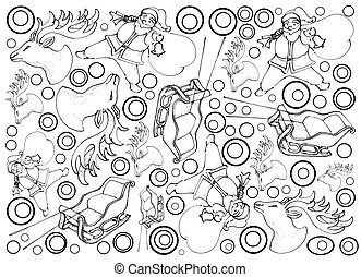 Hand Drawn of Santa Claus, Reindeer and Sleigh Background