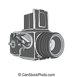 Hand Drawn of Vector Camera, Hasselblad