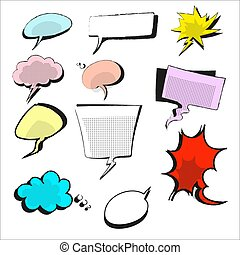 Hand drawn of vector illustration speech bubble colorful set. Style pop art