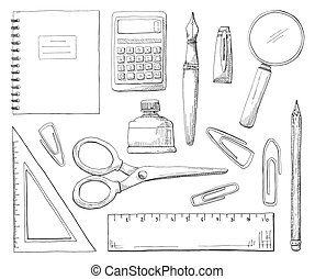 Hand drawn office supplies isolated on white background. Vector illustration of a sketch style