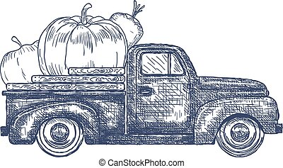 Old retro pick-up truck with Vegetables - Hand Drawn Old...