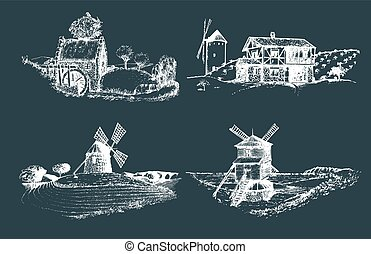 Hand drawn old rustic mills images. Vector rural landscape illustrations set. European countryside sketches for posters.