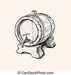 Hand Drawn Old Wine Barrel Vector Illustration