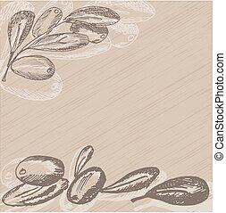 Hand drawn olive branch on vintage background. Sketch style . Vector illustration.