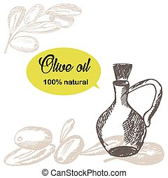 Hand drawn olive branch with glass bottle. Sketch style background. Doodle  quote  oil 100 natural. Vector illustration.