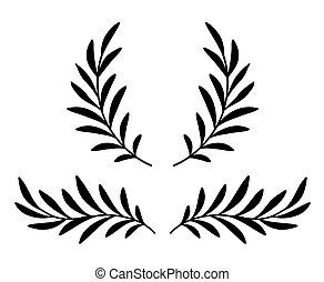 hand drawn olive branches with leaves and wreath