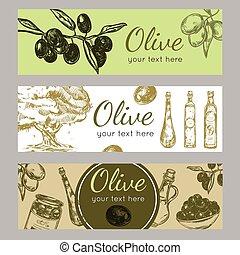 Hand Drawn Olive Oil Banner Set