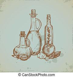 Hand drawn Olive Oil in Glass Bottles. Still life illustration. Vector