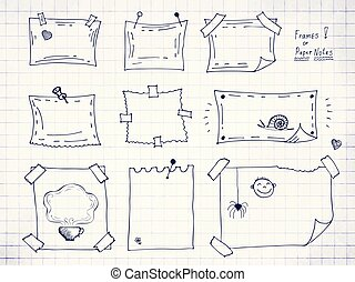 Hand drawn or doodle vector rectangle frames collection