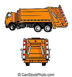 Hand drawn orange garbage truck, side and back view. Vector sketch isolated on white