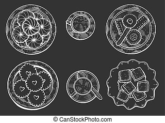 Oriental sweets vector - hand drawn. Oriental sweets vector ...