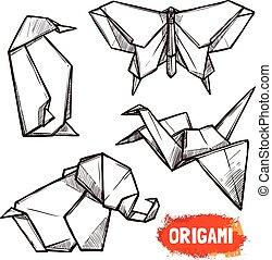 Hand Drawn Origami Figures Set