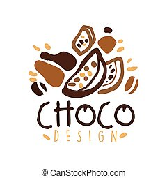Hand drawn original logo design with cocoa beans