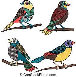 Hand drawn ornamental birds - Hand drawn birds. Colored...