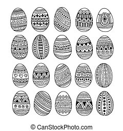 Hand drawn ornamental Easter eggs set