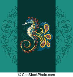 Hand drawn Ornamental vector sea-horse.