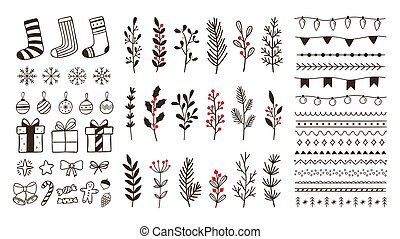 Hand drawn ornamental winter elements. Doodle christmas snowflake, floral branches and decorative borders vector set