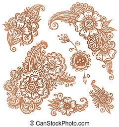 Hand-drawn ornaments set in Indian mehndi style - Hand-drawn...