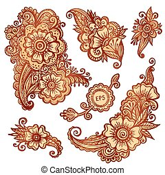 Hand-drawn ornaments set in Indian mehndi style