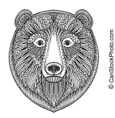 Hand drawn ornate doodle graphic black and white bear face.