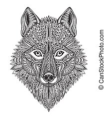 Hand drawn ornate doodle graphic black and white wolf face.