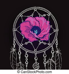 Hand drawn ornate Dream catcher with beautiful purple flower on a black background. Vector illustration.