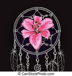 Hand drawn ornate Dream catcher with pink lily flower on a black background. Vector illustration.