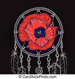 Hand drawn ornate Dream catcher with red poppy flower on a black background. Vector illustration.