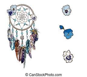 Hand drawn ornate Dreamcatcher with blue wild flowers Astrology, spirituality, magic symbol. Ethnic tribal element.