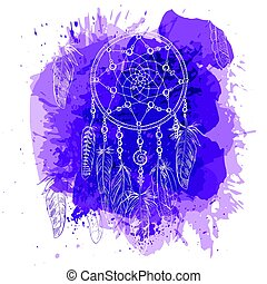 Hand drawn ornate Dreamcatcher with feathers, gemstones on splash in watercolour style background. Astrology, spirituality, magic symbol. Ethnic tribal element.