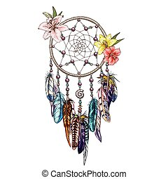 Hand drawn ornate Dreamcatcher with lily flowers. Astrology, spirituality, magic symbol. Ethnic tribal element.
