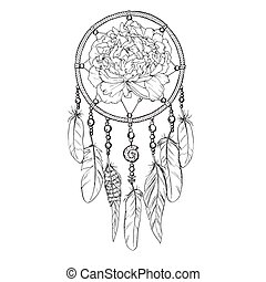 Hand drawn ornate Dreamcatcher with peony bud in contour....