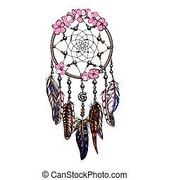 Hand drawn ornate Dreamcatcher with pink wild flowers Astrology, spirituality, magic symbol. Ethnic tribal element.