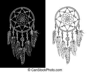 Hand drawn ornate Dreamcatchers with feathers, gemstones. Astrology, spirituality, magic symbol. Ethnic tribal element.