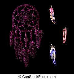 Hand drawn ornate pink Dreamcatchers with feathers, gemstones isolated on a black background. Astrology, spirituality, magic symbol. Ethnic tribal element. Vector illustration