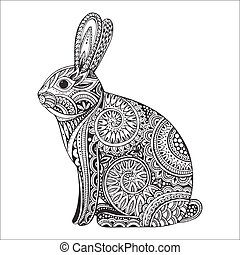 Hand drawn ornate rabbit with ethnic floral doodle pattern
