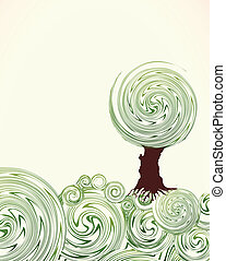 Hand Drawn ornate swirl grass and tree. Vector