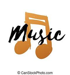hand-drawn, ouro, nota música, branco, fundo, para, desenho, doodle, vetorial, ilustração, música, texto