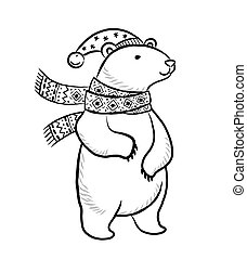 Hand drawn outline print with polar bear in winter scarf and hat