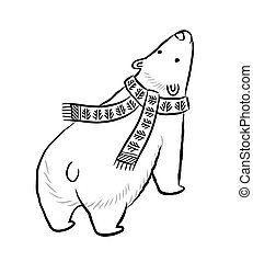 Hand drawn outline print with polar bear in winter scarf