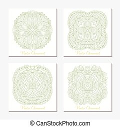 Hand drawn outline round ornament. Set of cards template with mandala. Geometrical doodle pattern