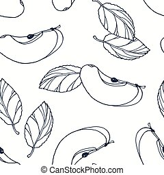 Hand drawn outline seamless pattern with apple. Black and white food background