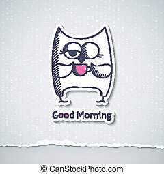 owl and cup of coffee, vector eps 10