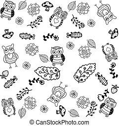 hand drawn owl doodle art