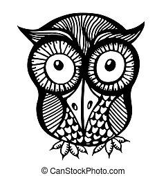 Hand drawn owl illustration.
