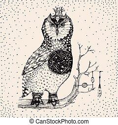 Hand drawn owl illustration in vector.