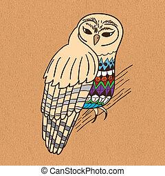 Hand drawn owl on canvas.